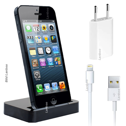 3in1 iphone 5 dockingstation ladestation ladeger t ladekabel netzteil datenkabel ebay. Black Bedroom Furniture Sets. Home Design Ideas