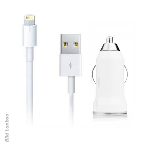 2in1-iPhone-5-5C-5S-USB-KFZ-Auto-Ladegeraet-Ladeset-Ladekabel-Kabel-Weiss-iOS-7