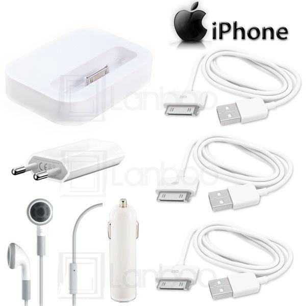 7in1 iPhone 4G 4S Ladekabel Dockingstation Headset Netzteil Ladegerät WEIß