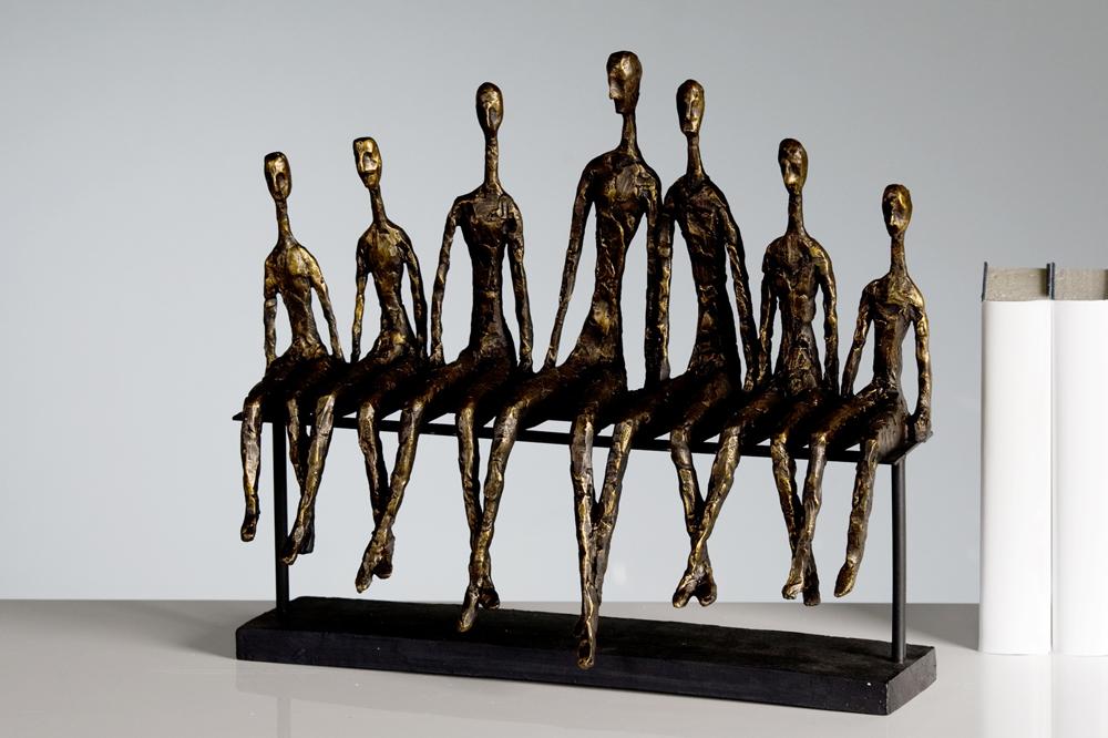 skulptur community bronze 40 x 35cm deko figur menschen dekoration statue objekt ebay. Black Bedroom Furniture Sets. Home Design Ideas