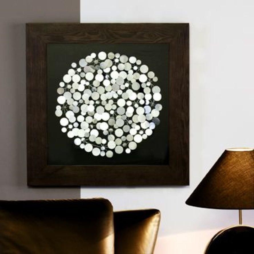 Wandbild Dots Design Objekt Metall Holz Schwarz Silber