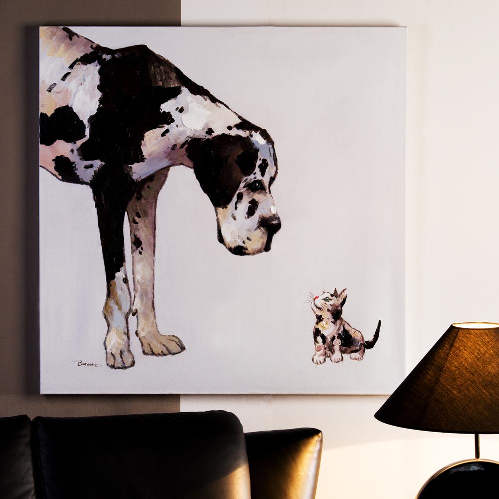 lbild hund katze leinwand holz wandbild kunstdruck 100. Black Bedroom Furniture Sets. Home Design Ideas