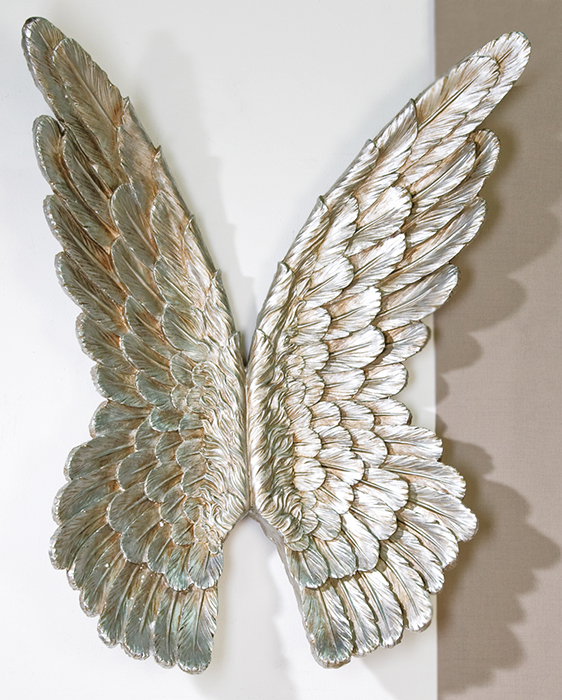 wand objekt fl gel silber polyresin angel wings deko engelsfl gel 36x100 cm ebay. Black Bedroom Furniture Sets. Home Design Ideas