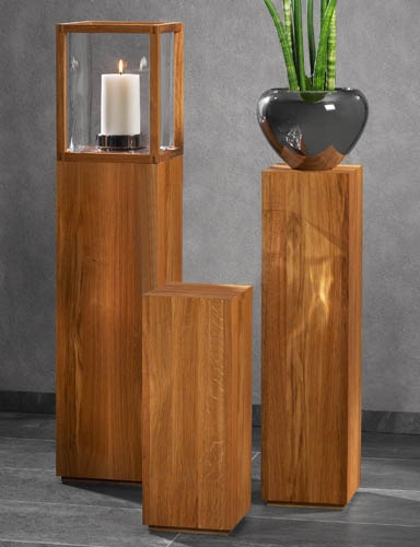 Premium Echt Holz Säule FORST Dekosäule Galeriesockel Podest Natur Sockel Eiche | eBay