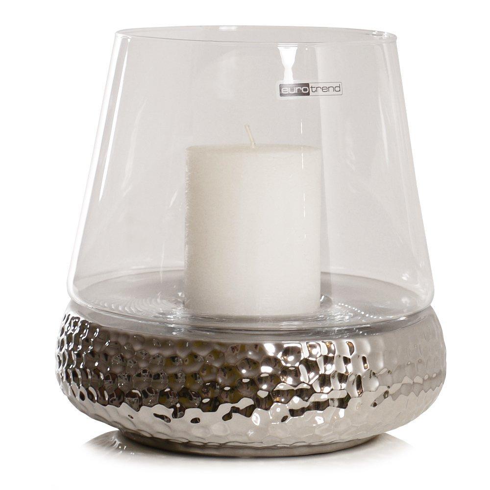 Wohnzimmer deko wohnzimmer vasen : KAHEKU Windlicht GOLF Keramik gehämmert silber Bilbao Laterne Kerzen ...