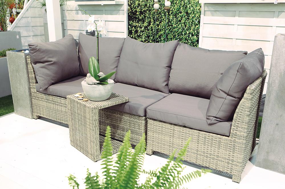 outdoor sofa modern rattan uv beschichtet grau garten lounge sitzen stylisch ebay. Black Bedroom Furniture Sets. Home Design Ideas