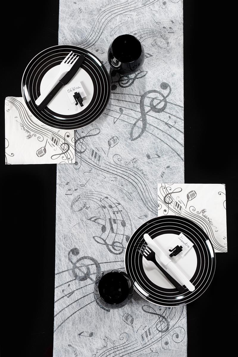 tischl ufer noten musik schwarz wei tischband tischdeko vlies dekoration ebay. Black Bedroom Furniture Sets. Home Design Ideas
