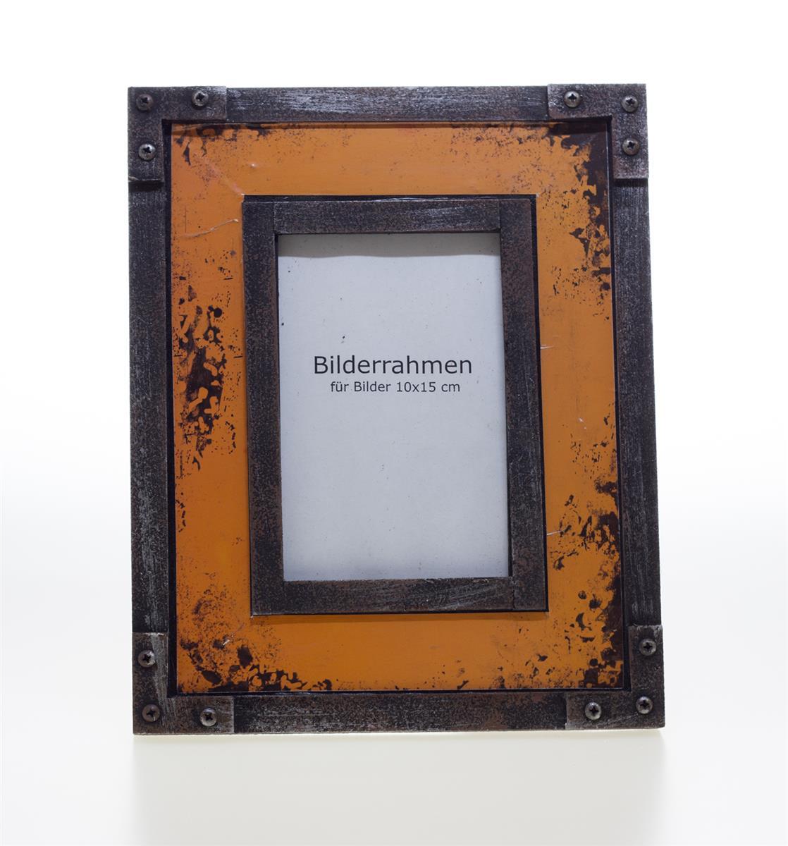bilderrahmen vintage fotorahmen holz rahmen metall 10x15cm, Moderne