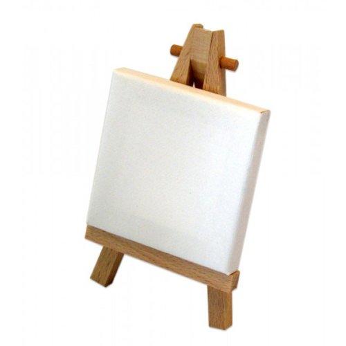 mini holz staffelei piccolo h12cm mit keilrahmen 7x7cm. Black Bedroom Furniture Sets. Home Design Ideas