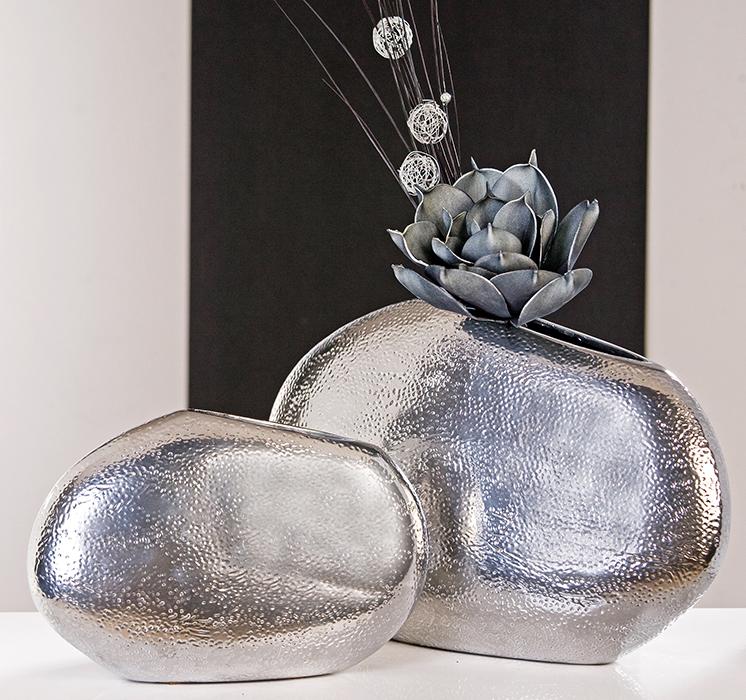 xl designer vase punto 40x29cm tischdekoration keramik deko schale platin silber ebay. Black Bedroom Furniture Sets. Home Design Ideas