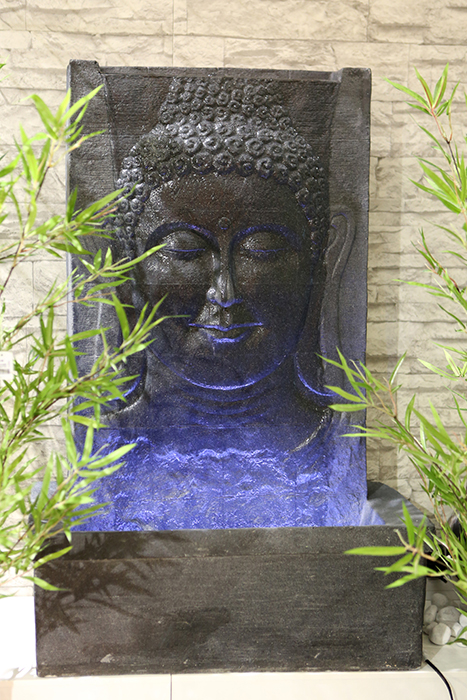 brunnen buddha portrait fiberglas gartenbrunnen grau 102cm wasserwand led licht. Black Bedroom Furniture Sets. Home Design Ideas