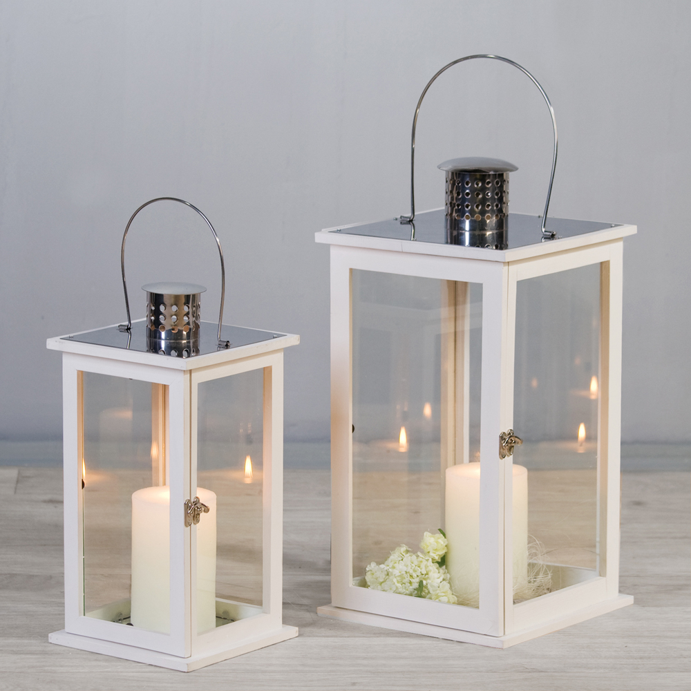 laterne harmony windlicht 2er set kerzenhalter wei silber holz glas edelstahl ebay. Black Bedroom Furniture Sets. Home Design Ideas