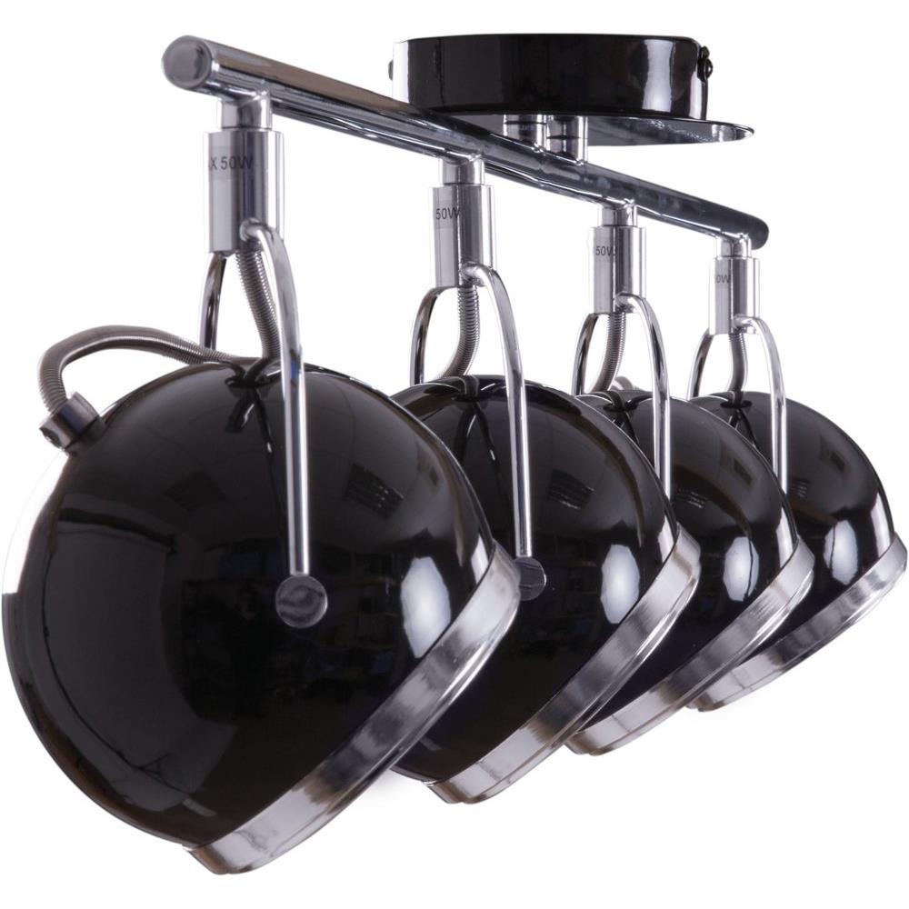 retro strahler 4 flammig schwarz heitronic deckenleuchte deckenstrahler neu ebay. Black Bedroom Furniture Sets. Home Design Ideas