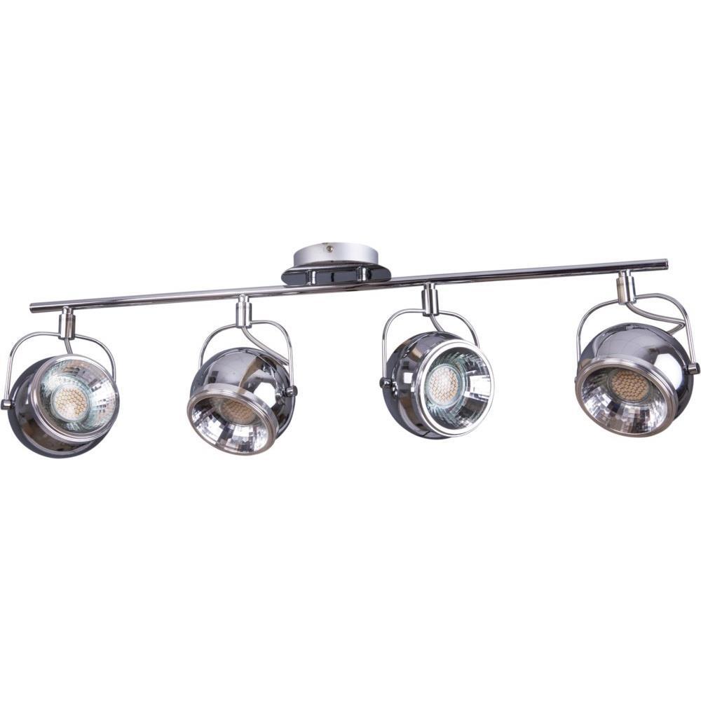 Retro strahler 4 flammig chrom deckenstrahler metall for Deckenlampe 2 strahler