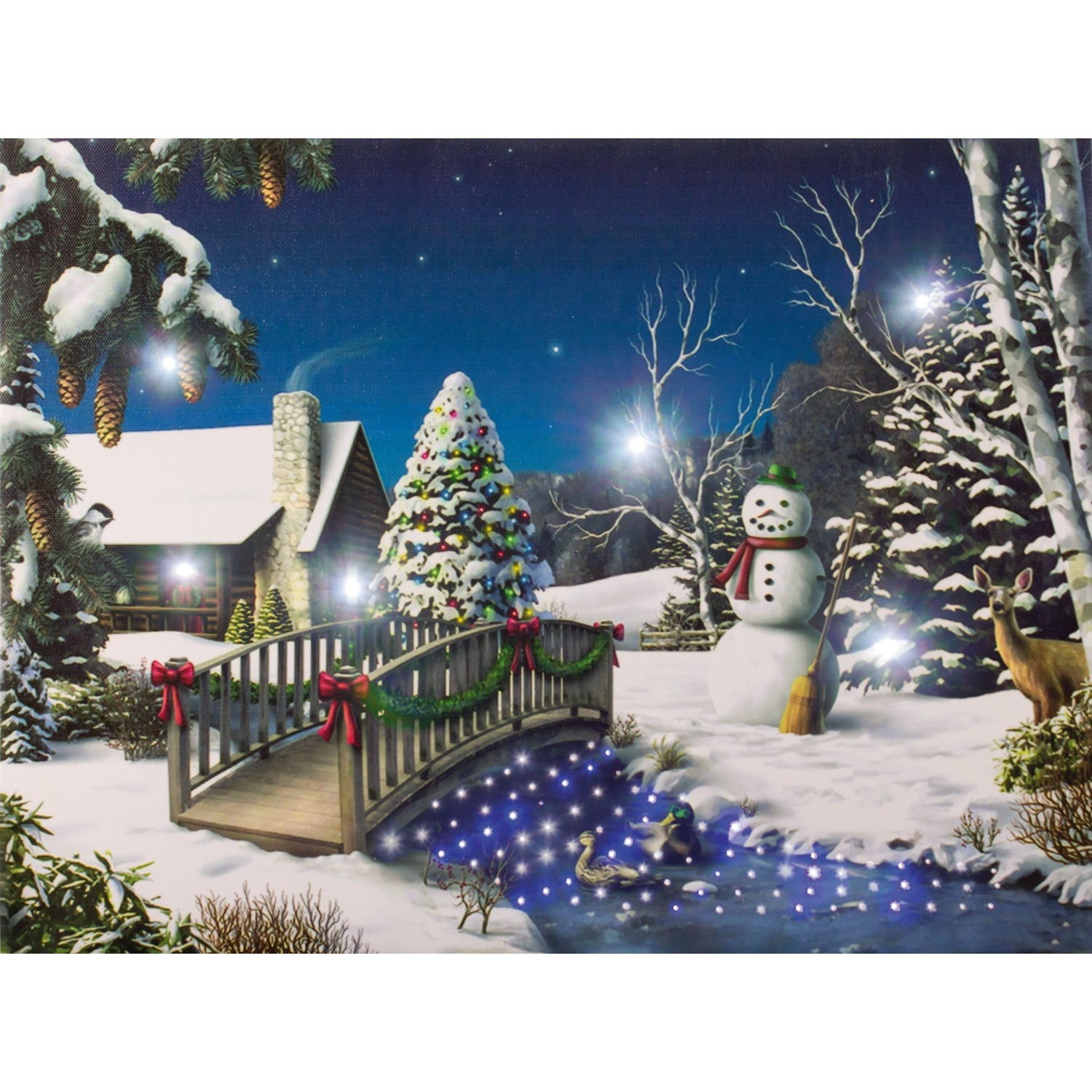 led bild winterlandschaft am bach 40x30 cm wanddekoration weihnachten ebay. Black Bedroom Furniture Sets. Home Design Ideas