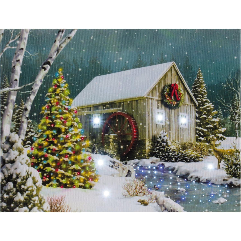 Led bild scheune 40x30 cm beleuchtetes bild weihnachten for Wanddeko weihnachten