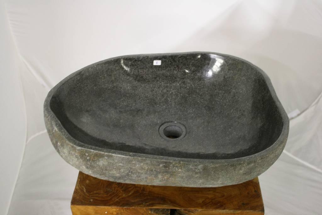50x40 naturstein flussstein findling waschbecken waschtisch aufsatz kiesel stein ebay. Black Bedroom Furniture Sets. Home Design Ideas