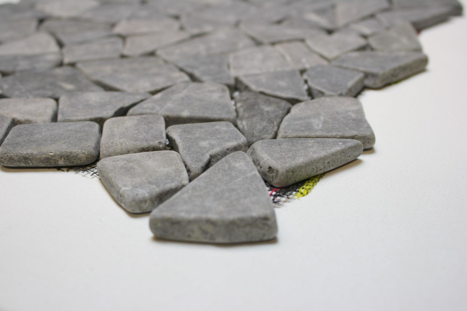 1m bruch mosaik netz naturstein stein marmor fliese boden wand grau restposten ebay. Black Bedroom Furniture Sets. Home Design Ideas