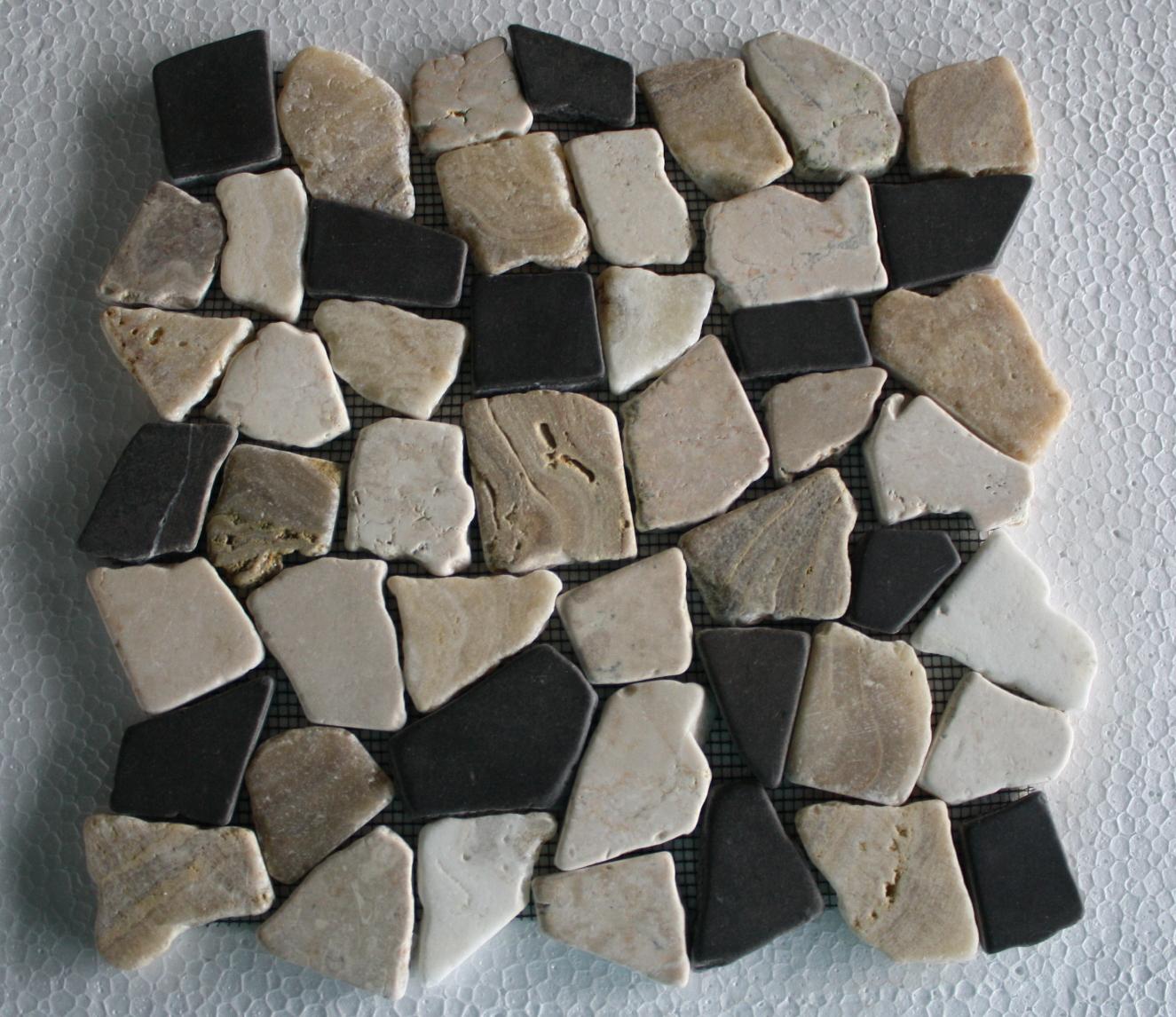 1m fliese bruch mosaik marmor naturstein stein wand boden restposten neu dusche ebay. Black Bedroom Furniture Sets. Home Design Ideas