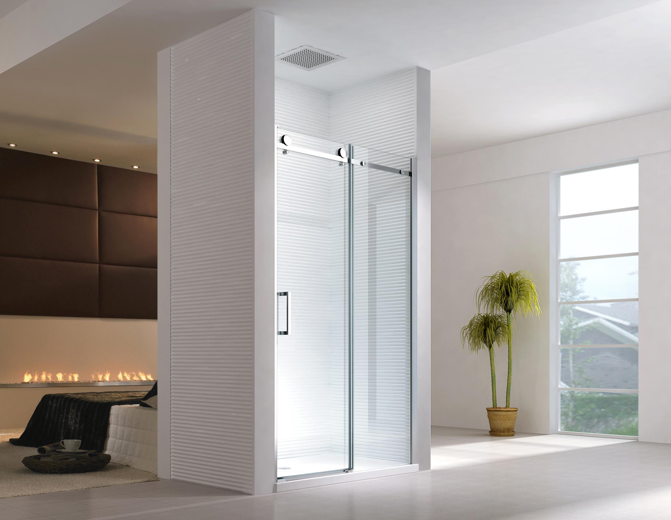 Porte de niche cabine de douche sans bac de douche syst mes coulissants ebay - Cabine de douche sans porte ...