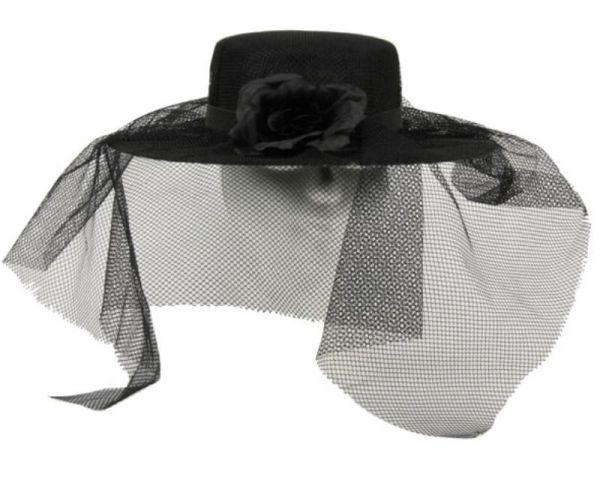 schwarzer damenhut mit schleier hut damen fasching kost m zubeh r t ll und rose. Black Bedroom Furniture Sets. Home Design Ideas