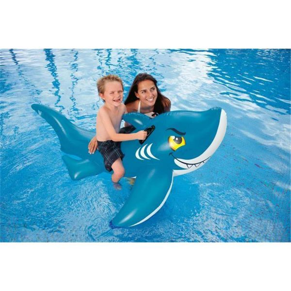 aufblasbarer haifisch mit griffen ca 157 cm aufblastier kinder hai fisch pool ebay. Black Bedroom Furniture Sets. Home Design Ideas