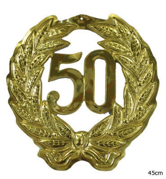 Jubil umszahl 50 jubil um goldene hochzeit geburtstag zahl - Goldene wanddeko ...