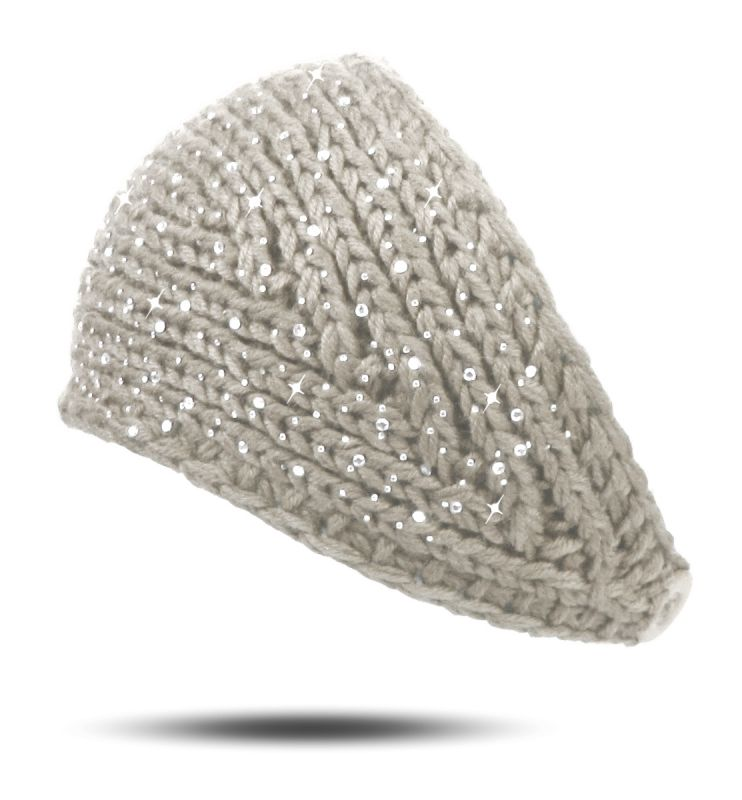 Strick Stirnband Strass Steine Sprenkel Knopf warm Winter breit ...