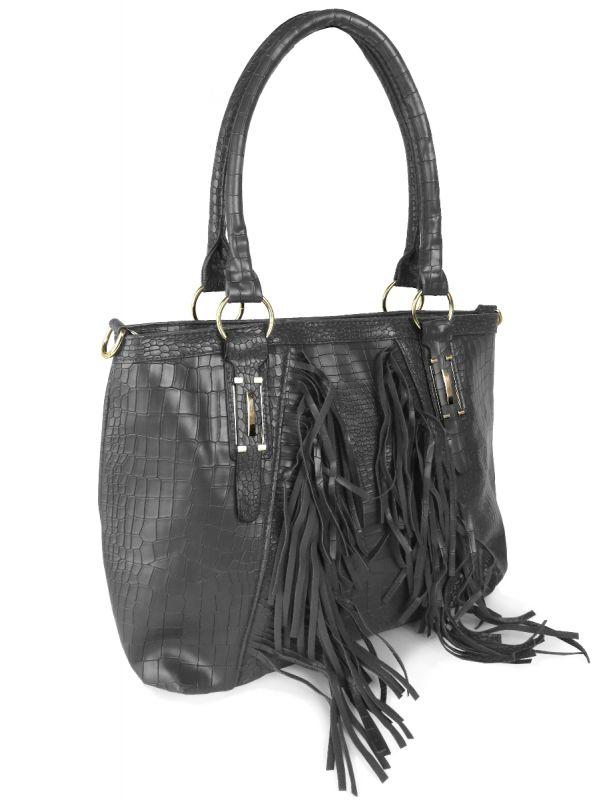 reptil handtasche beuteltasche mit fransen damen frauen. Black Bedroom Furniture Sets. Home Design Ideas