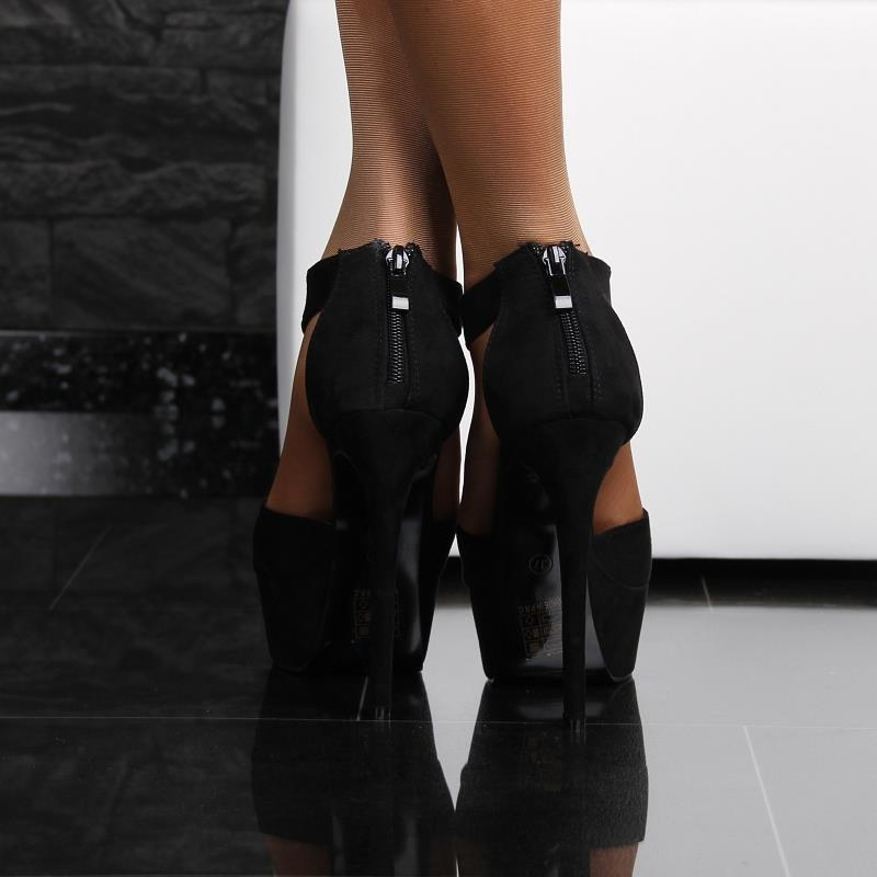 sexy sandaletten plateau schuhe high heels aus velours. Black Bedroom Furniture Sets. Home Design Ideas