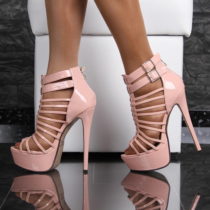 sexy lackleder plateau sandaletten mit riemen high heels rosa rmd1273 ebay