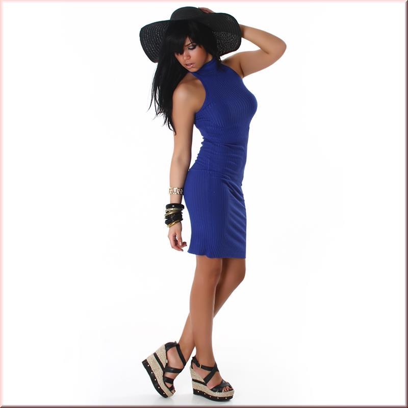 elegantes langes strick kleid kleid blau 34 36 38 lk024. Black Bedroom Furniture Sets. Home Design Ideas