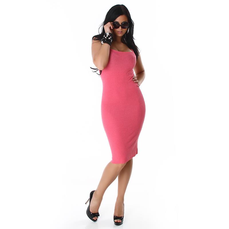 elegantes langes strick kleid kleid pink 34 36 38 lk044. Black Bedroom Furniture Sets. Home Design Ideas