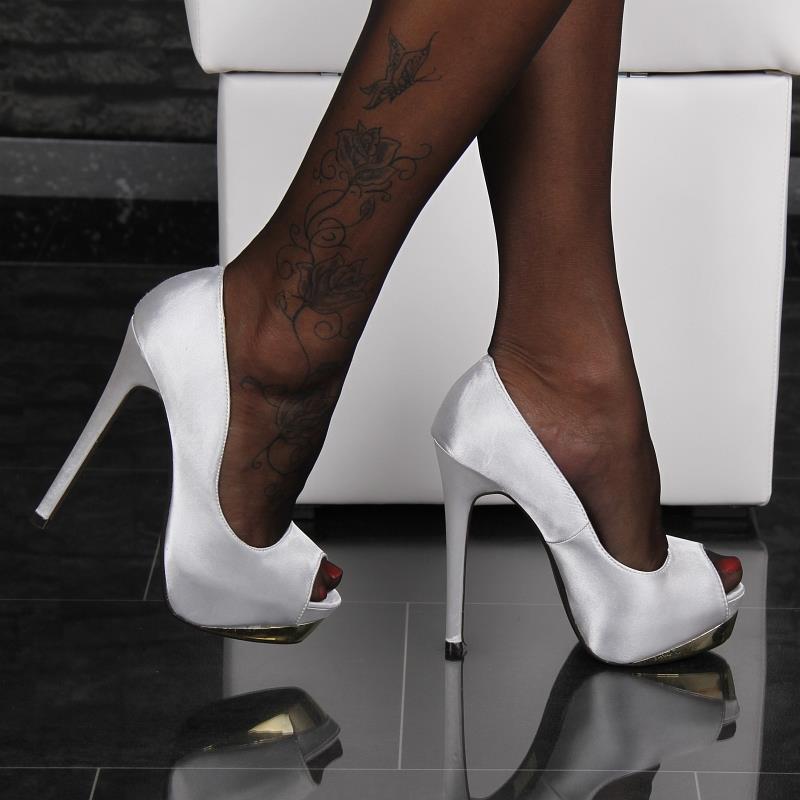 sexy satin peep toes high heels pumps plateau schuhe silber 28112 ebay. Black Bedroom Furniture Sets. Home Design Ideas
