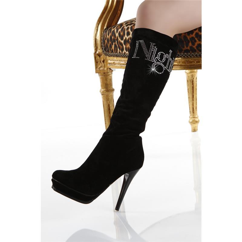 sexy damen stiefel plateau schuhe high heels aus samt. Black Bedroom Furniture Sets. Home Design Ideas