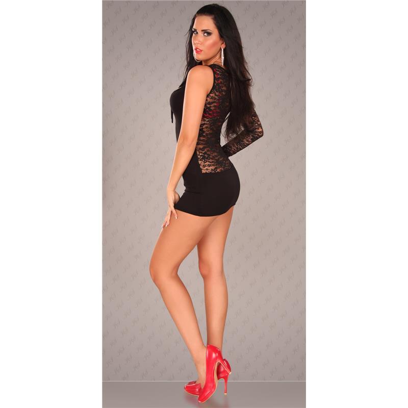 sexy einarm minikleid kleid mit spitze schleife schwarz 34 36 38 mk1460 ebay. Black Bedroom Furniture Sets. Home Design Ideas