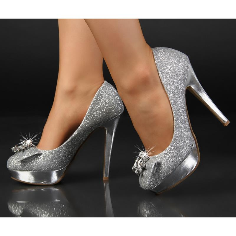 glamour se pumps high heels plateau schuhe mit glitzer silber 6090 ebay. Black Bedroom Furniture Sets. Home Design Ideas