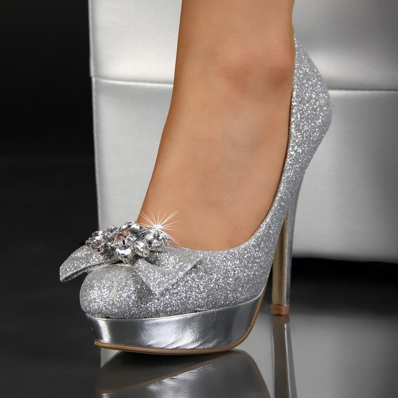 glamour se pumps high heels plateau schuhe mit glitzer. Black Bedroom Furniture Sets. Home Design Ideas