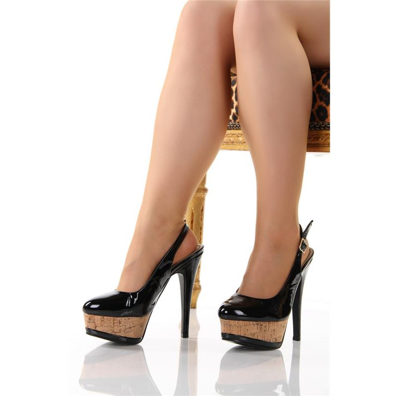sexy sling pumps plateau high heels schuhe mit kork. Black Bedroom Furniture Sets. Home Design Ideas