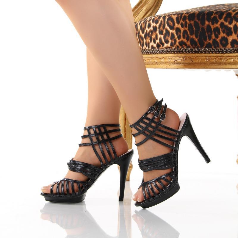 extravagante plateau sandaletten schuhe high heels schwarz. Black Bedroom Furniture Sets. Home Design Ideas