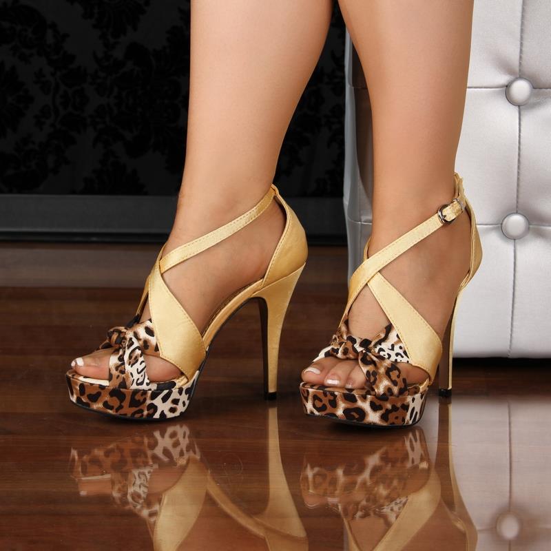 edle satin plateau sandaletten high heels leopard optik gelb 7476 ebay. Black Bedroom Furniture Sets. Home Design Ideas