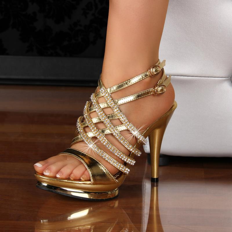 edle plateau sandaletten abendschuhe high heels strass gold 32079 3 ebay. Black Bedroom Furniture Sets. Home Design Ideas