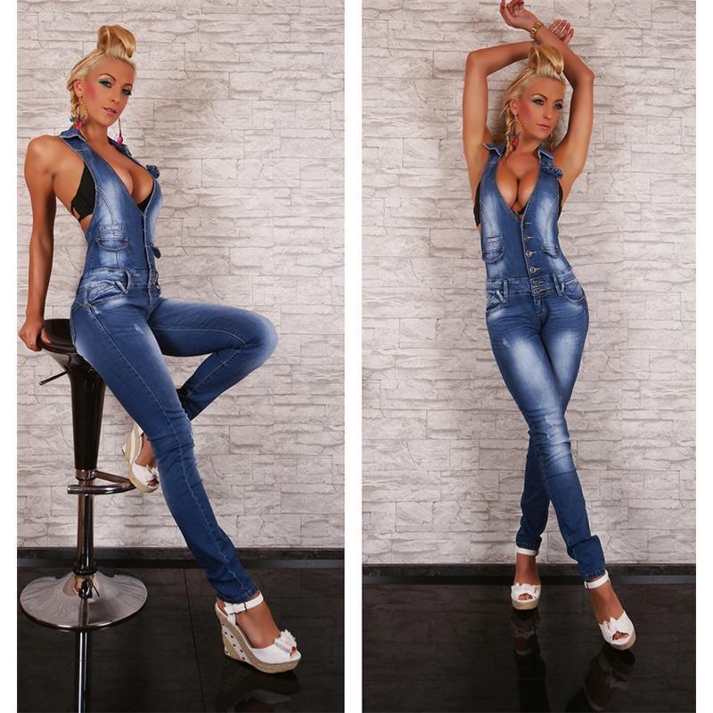 Sexy blue washed neckholder jeans overall blau ov085 ebay - Diva pants ebay ...