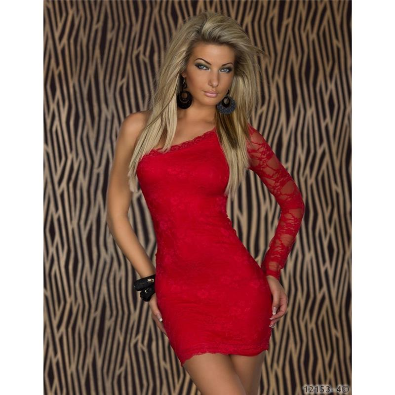 elegantes einarm kleid minikleid aus spitze rot 34 36 38. Black Bedroom Furniture Sets. Home Design Ideas