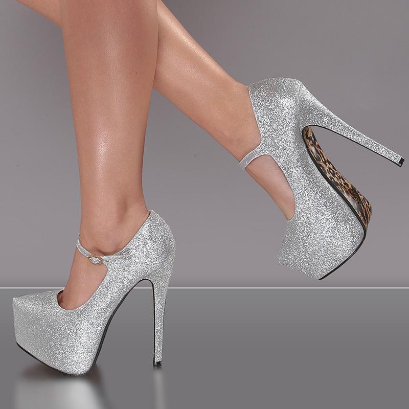 sexy riemchen plateau schuhe high heels pumps mit glitzer. Black Bedroom Furniture Sets. Home Design Ideas