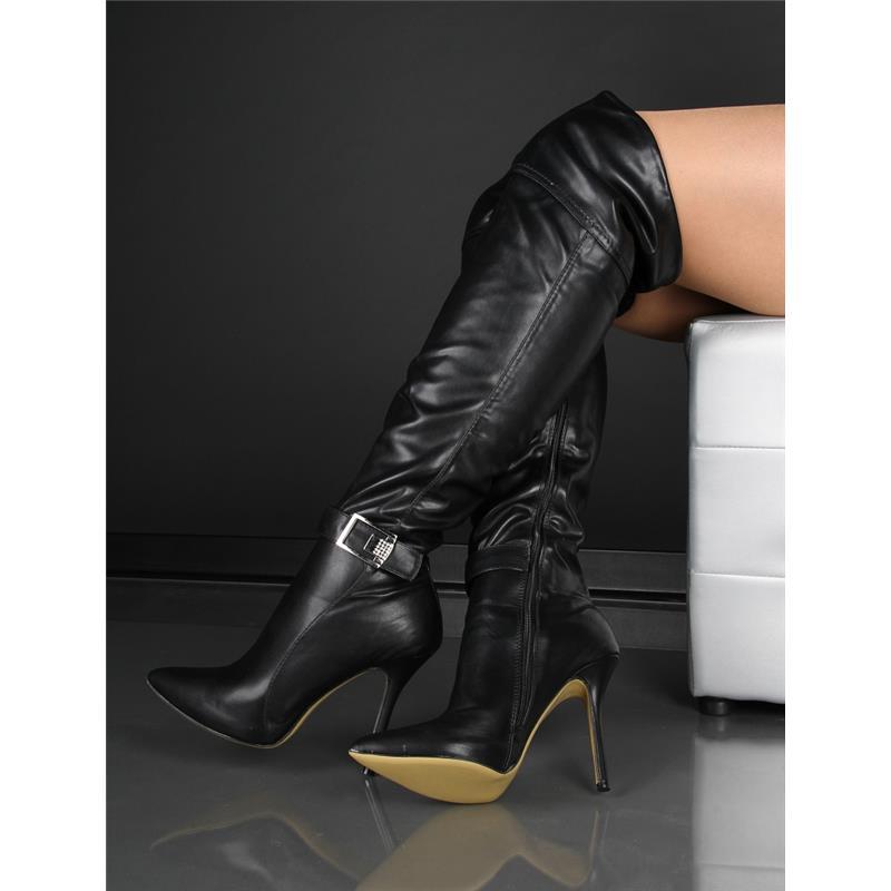 sexy overknee stiefel leder imitat mit strass schwarz hp194 ebay. Black Bedroom Furniture Sets. Home Design Ideas