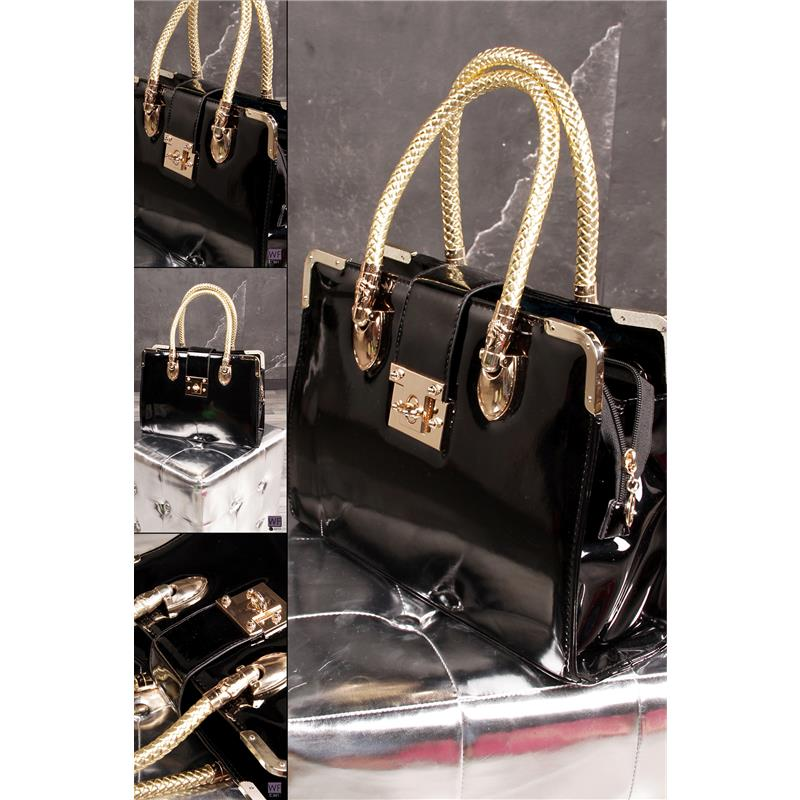 exklusive lack handtasche leder imitat schwarz gold ac315 ebay. Black Bedroom Furniture Sets. Home Design Ideas