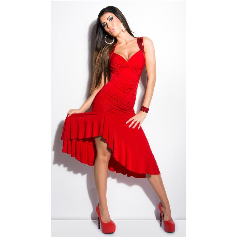 sexy latino salsa kleid mit spitze und pailletten rot 34. Black Bedroom Furniture Sets. Home Design Ideas