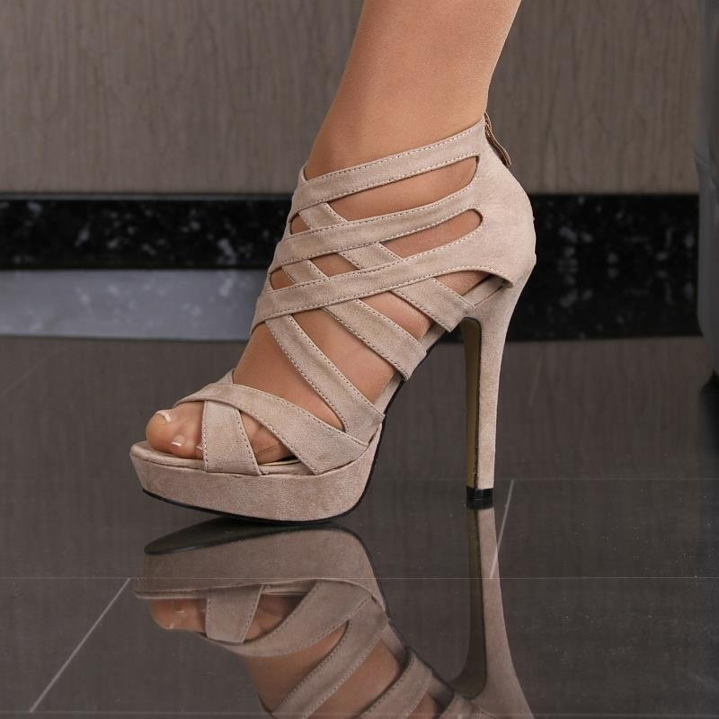 b963726861036 Sexy Strappy Sandals Platform Shoes High Heels from Velour Beige #f1-71 |  eBay