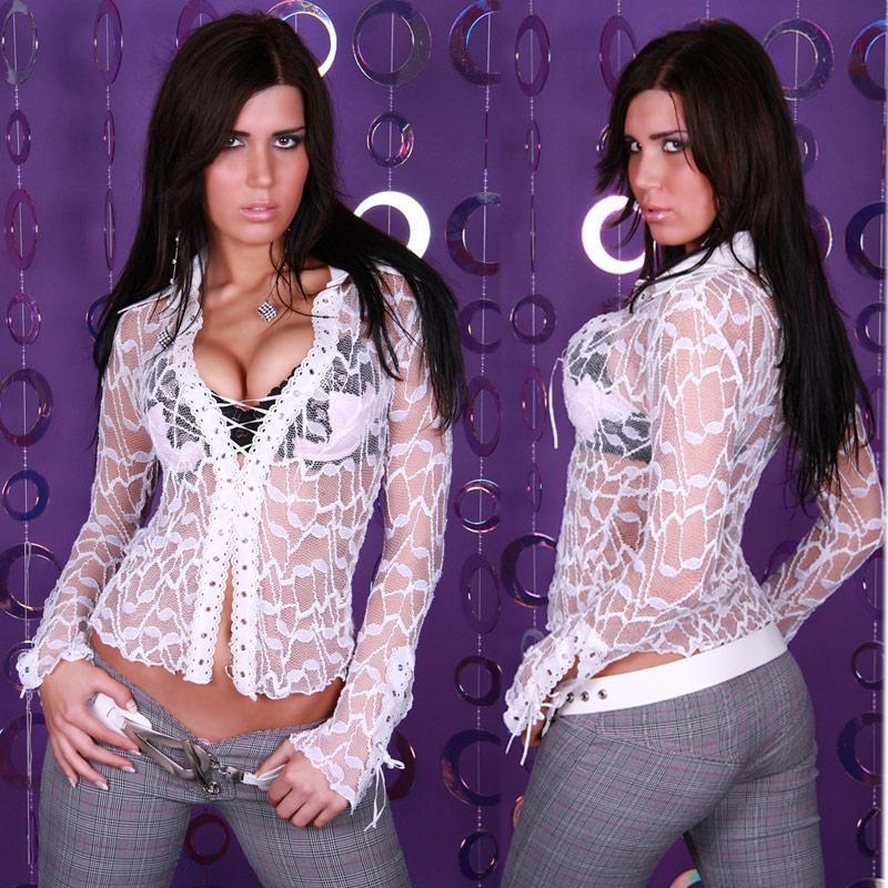 sexy transparente bluse mit glitzer weiss 34 36 38 bl001. Black Bedroom Furniture Sets. Home Design Ideas